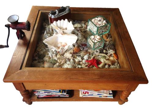 mesa de centro - gaveta expositor (madeira demolição)