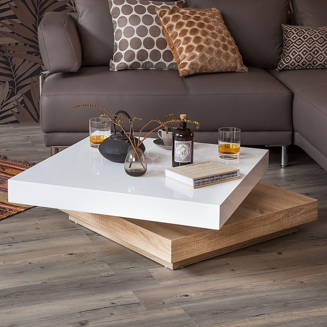 mesa de centro giratoria roble y blanco ref girasol plus en mercado libre. Black Bedroom Furniture Sets. Home Design Ideas