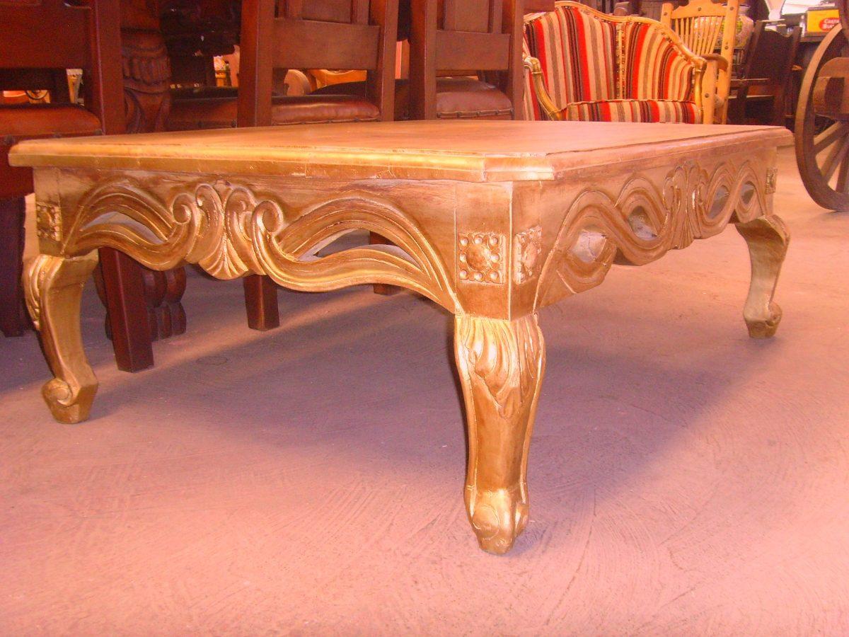 Mesa de centro grande de madera tallada estilo antiguo - Mesa de centro de madera ...