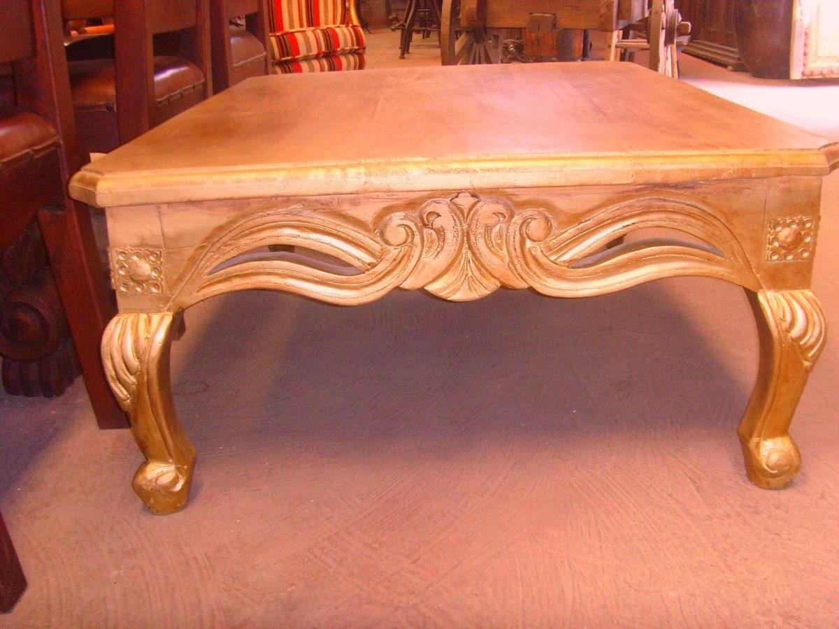 Mesa de centro grande de madera tallada estilo antiguo - Mesa centro madera ...
