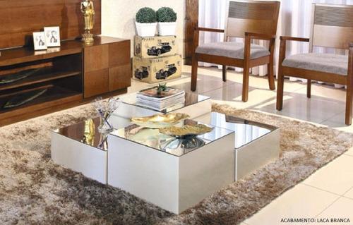 mesa de centro luna kit 2 módulos espelhados mobillare x