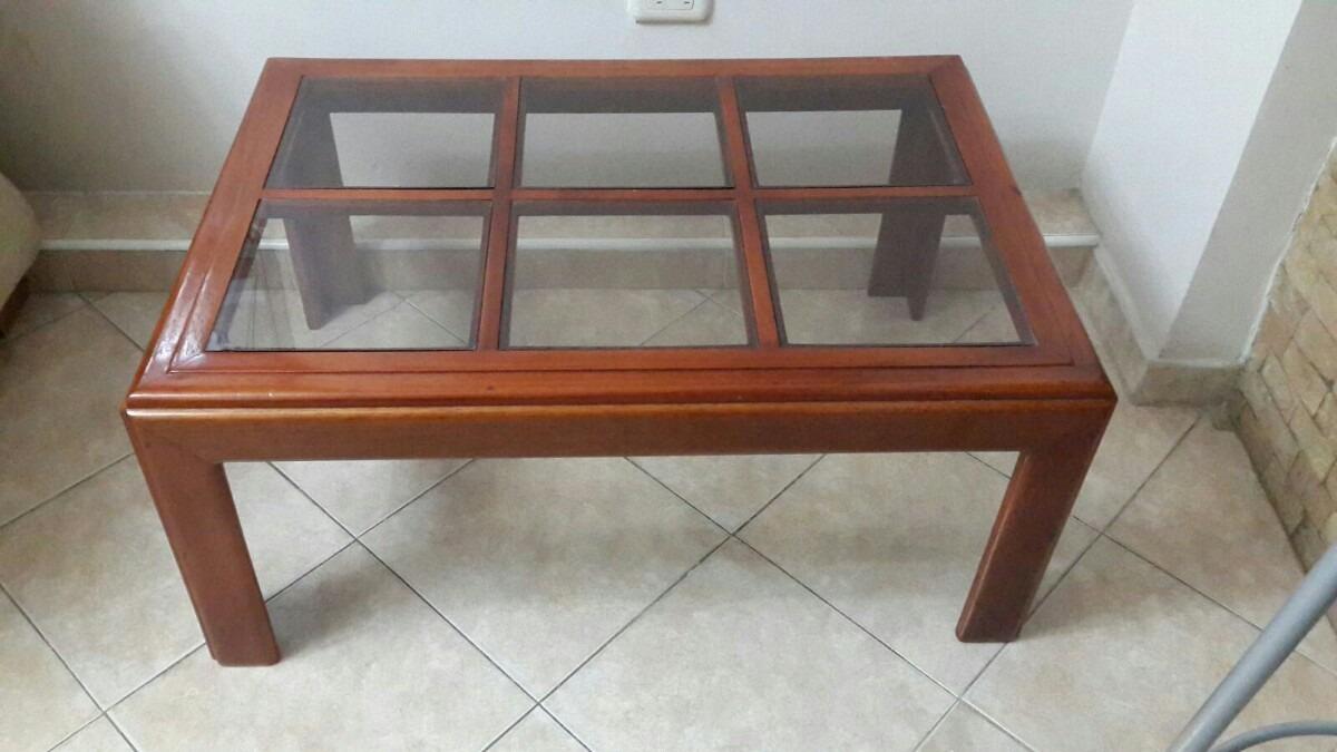 Mesa de centro madera vidrio bs en mercado - Mesa centro madera ...
