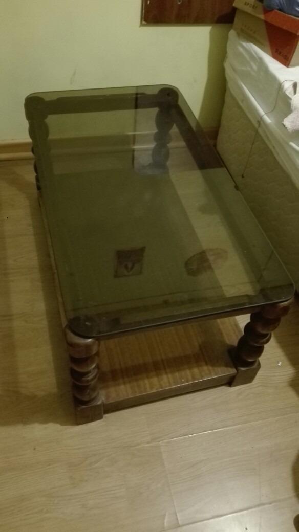 Mesa de centro madera y vidrio en mercado libre for Mesas de centro madera y cristal