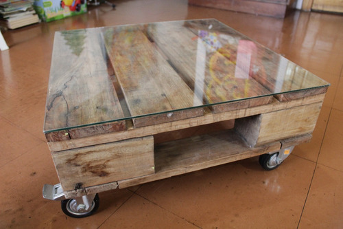 mesa de centro mueble pallet ruedas