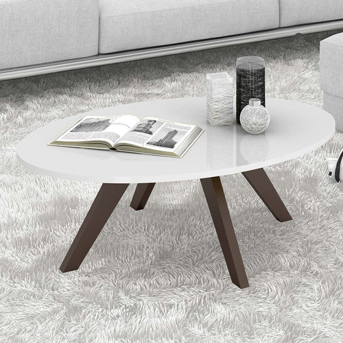 mesa de centro oval baixa decorativa alba laca branco tv