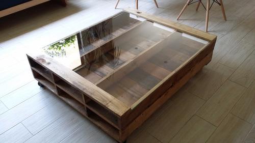 Mesa de centro palet madera reciclada pallet tarima for Mesas hechas con tarimas