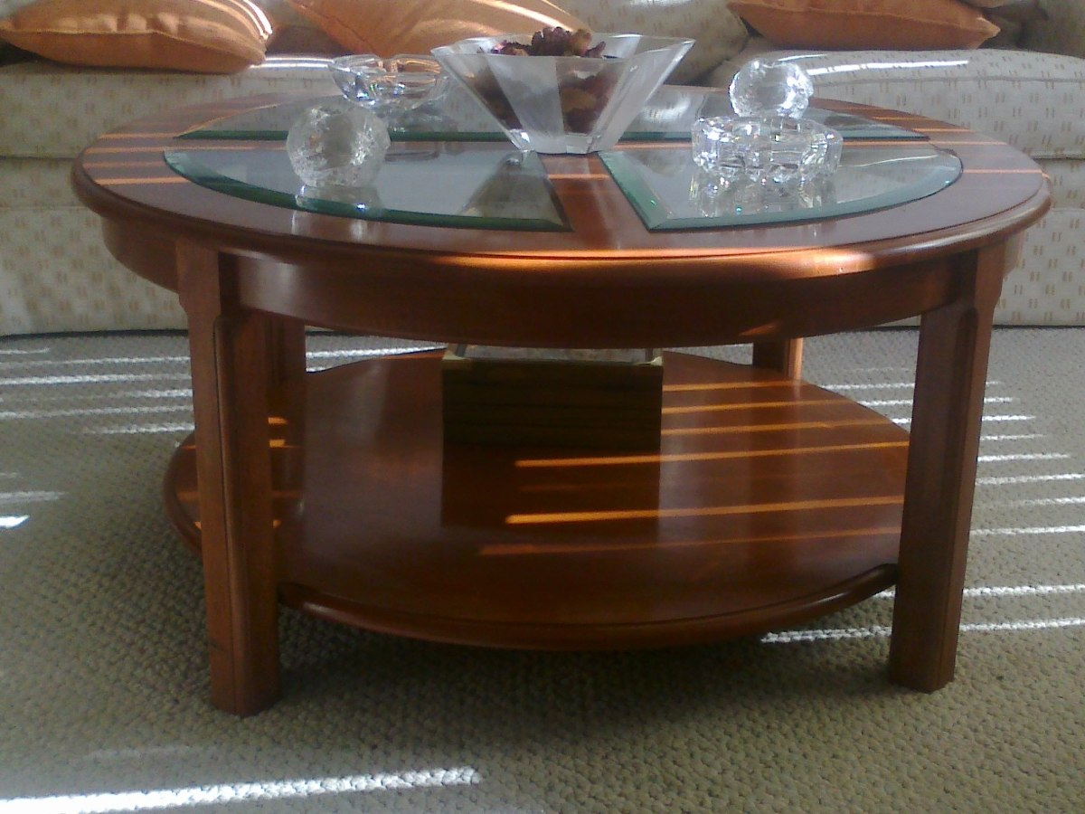 Mesa de centro redonda caoba y cristal 4 en - Mesas redondas cristal ...