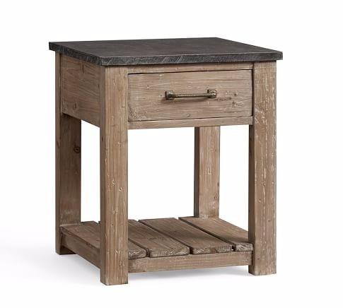 mesa de centro rustica 100% de madera con placa de marmol