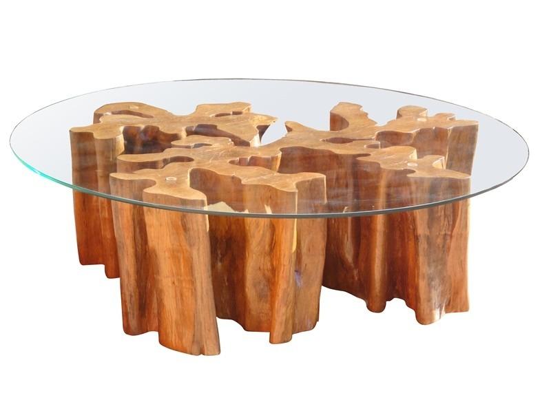 Mesa de centro r stica em madeira maci a de tronco tora - Mesas de centro rusticas ...