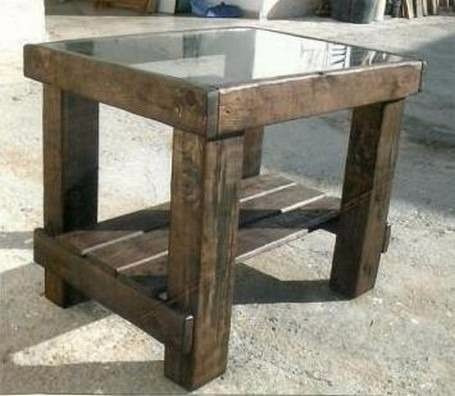 mesa de centro rustica vigas madera maciza