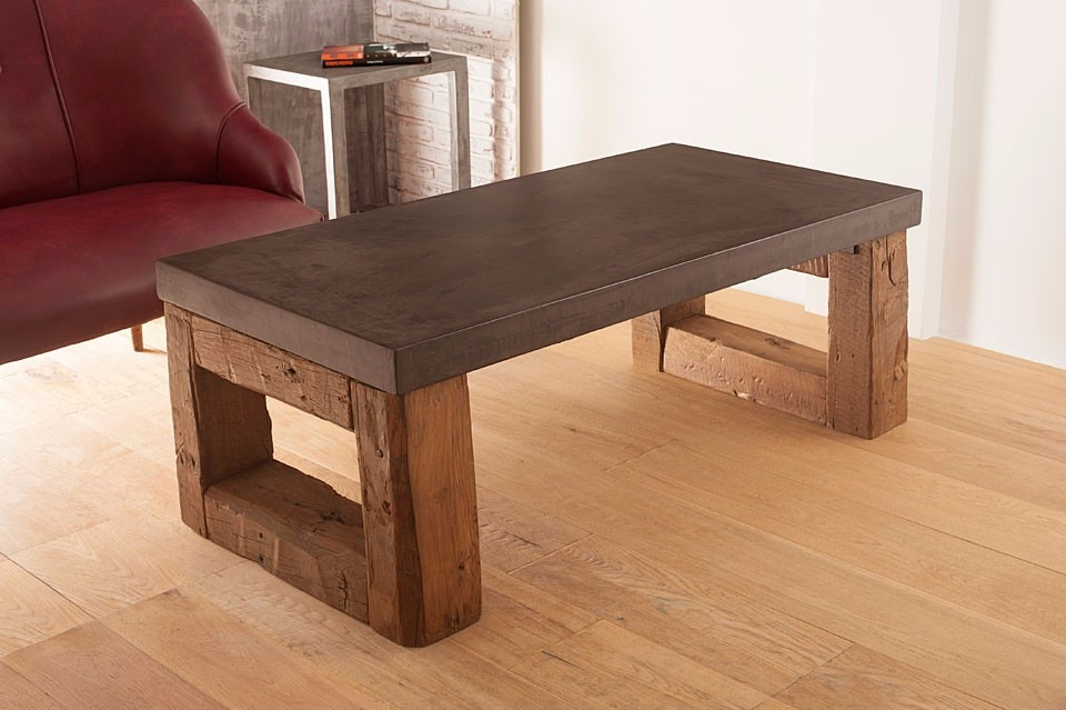 Mesa de centro rustica vigas madera maciza u s en mercado libre - Mesa madera maciza rustica ...