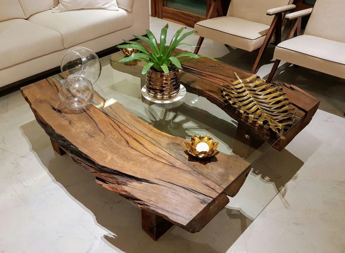 Mesa de centro r stica tronco raiz tora madeira vidro r em mercado livre - Mesas de centro ...
