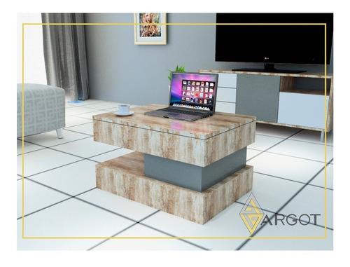 mesa de centro sala melamine tablero elevable+cajon oculto