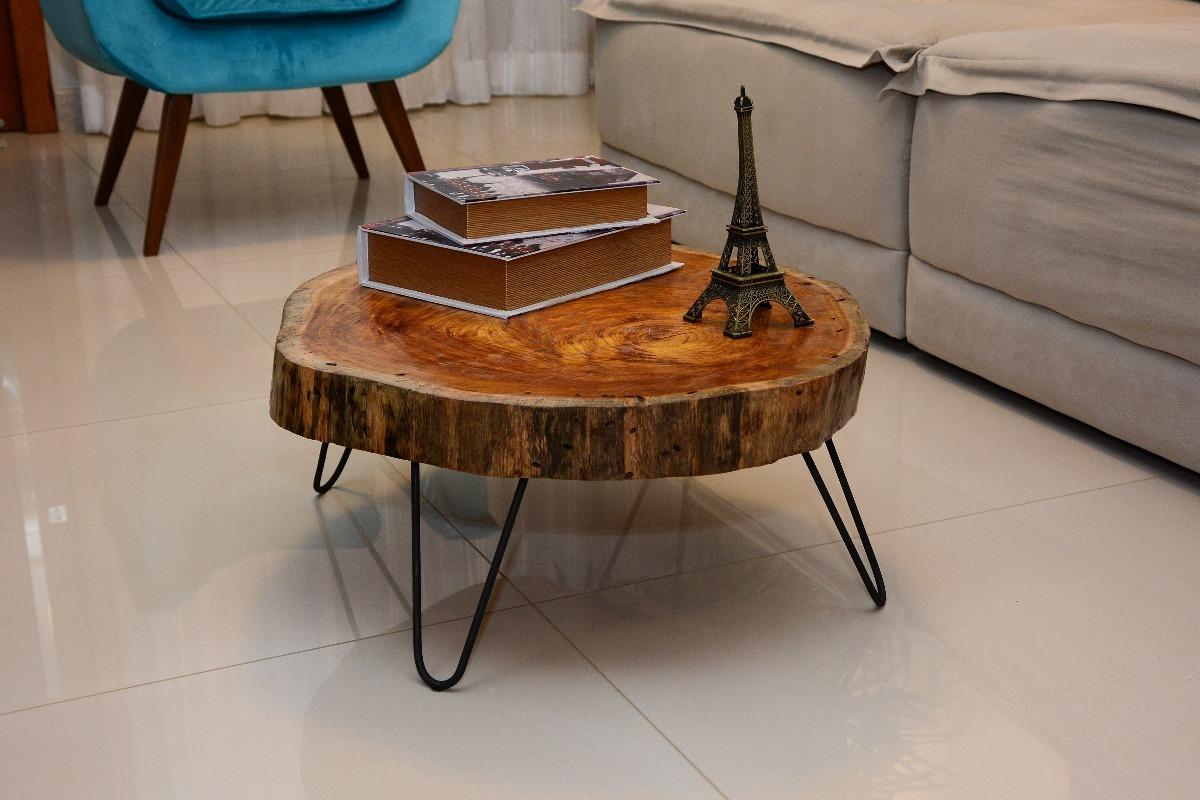 Mesa de centro tampo de madeira r stica e p s de ferro r - Mesas de centro rusticas ...