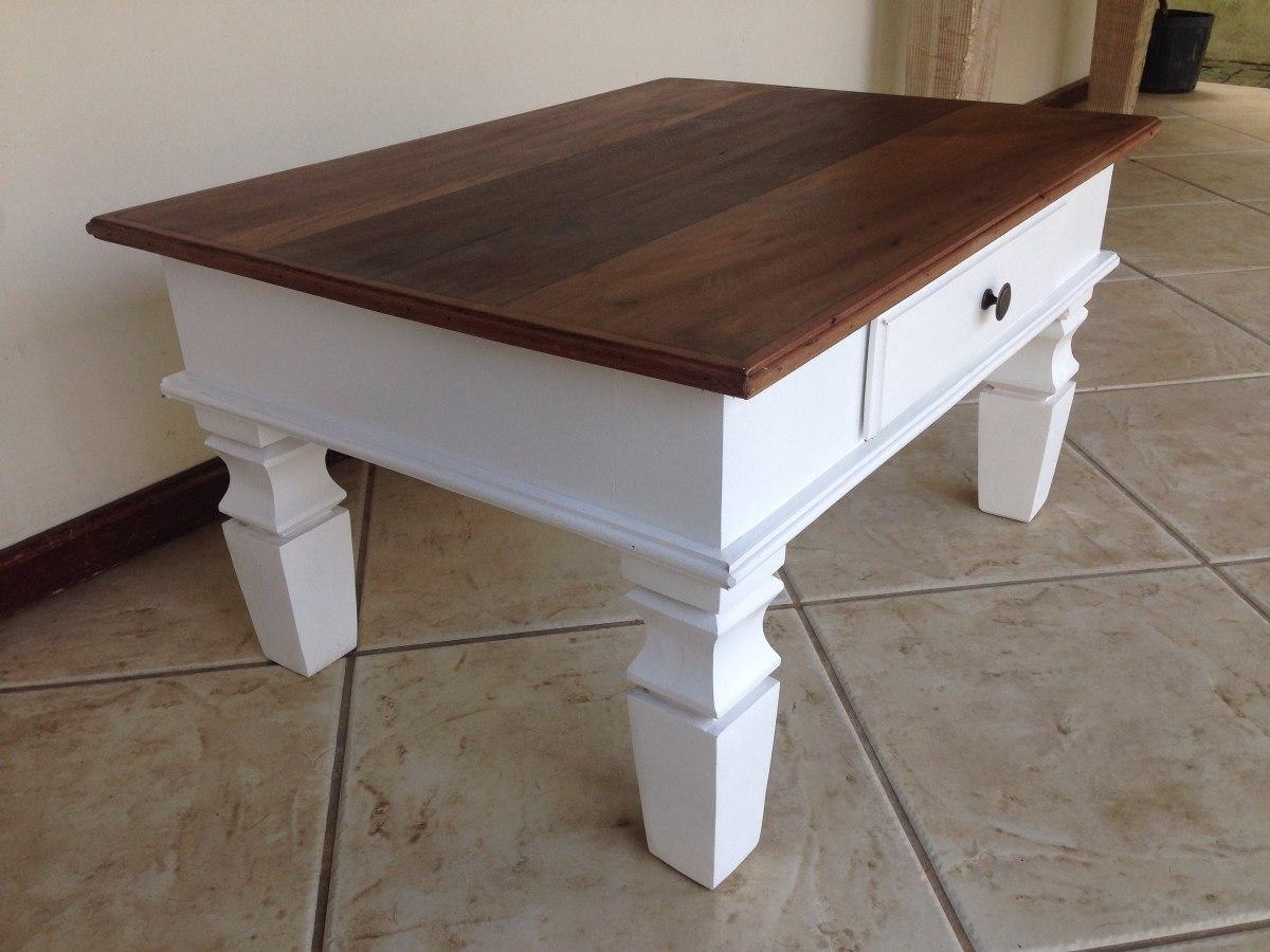 Mesa de centro tampo madeira de demoli o branco proven al - Mesa de centro lack ...