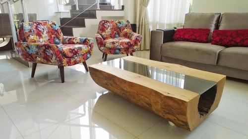 mesa de centro tronco maciça 1,6m - tora curvas naturais