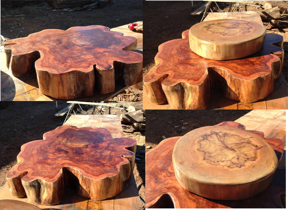 Mesa de centro tronco tora r stica bolacha aparador - Mesa de tronco ...