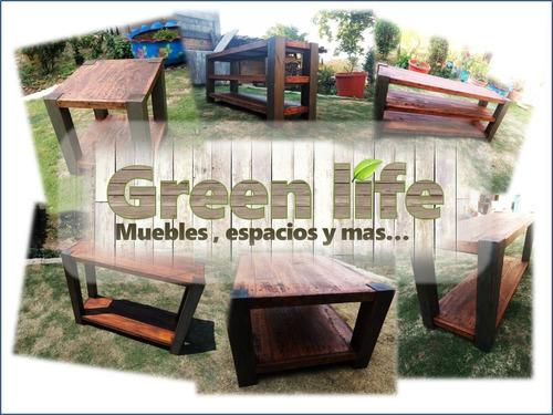 mesa de centro vintage 100% madera solida by green life