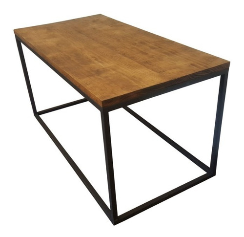 mesa de centro vintage madera metal estilo industrial