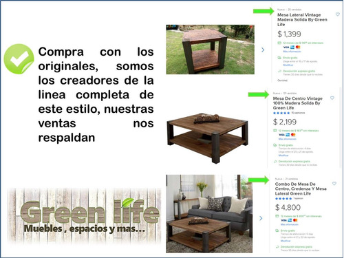 mesa de centro vintage plerth by green life