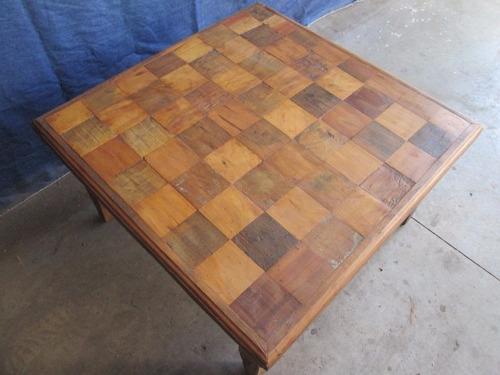 mesa de centro xadrez 80cm madeira rústica