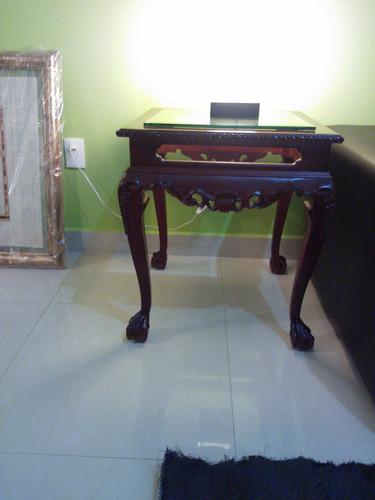 mesa de centro y laterales en madera de caoba