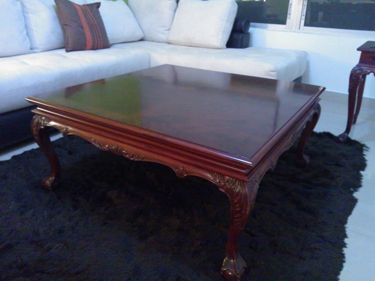Mesa de centro y laterales en madera de caoba 20 000 for Mesas de madera para sala