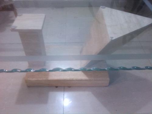 mesa de centrode marmol vidrio biselado oferta oportunidad