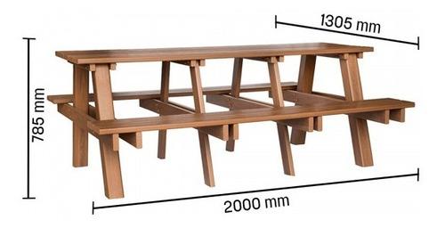 mesa de churrasqueira madeira plástica 100% reciclada - 2m