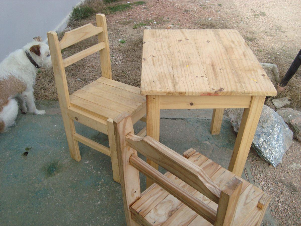 Mesa de cocina dos sillas rusticas estilo gauchesco - Mesas antiguas de cocina ...