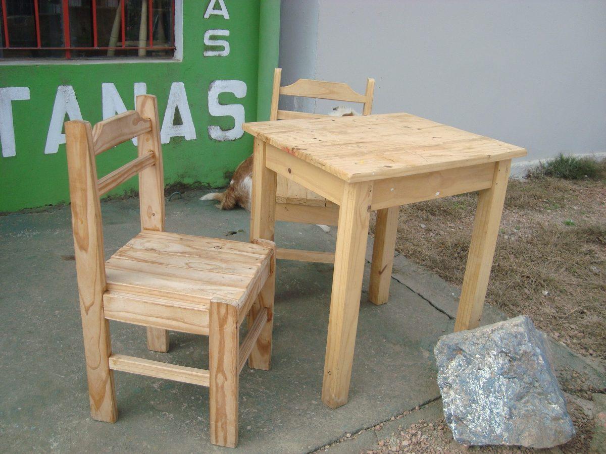 Mesa de cocina dos sillas rusticas estilo gauchesco - Mesa cocina rustica ...