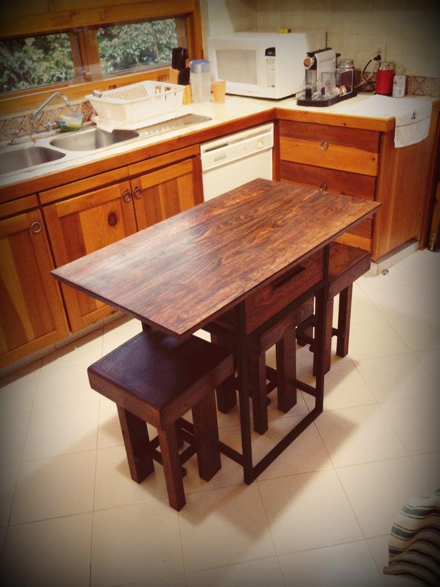 Mesa de cocina madera tropical chechen 4 en for Mesa madera cocina