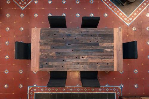 mesa de comedor alto voltaje de madera recuperada 210x100cm.