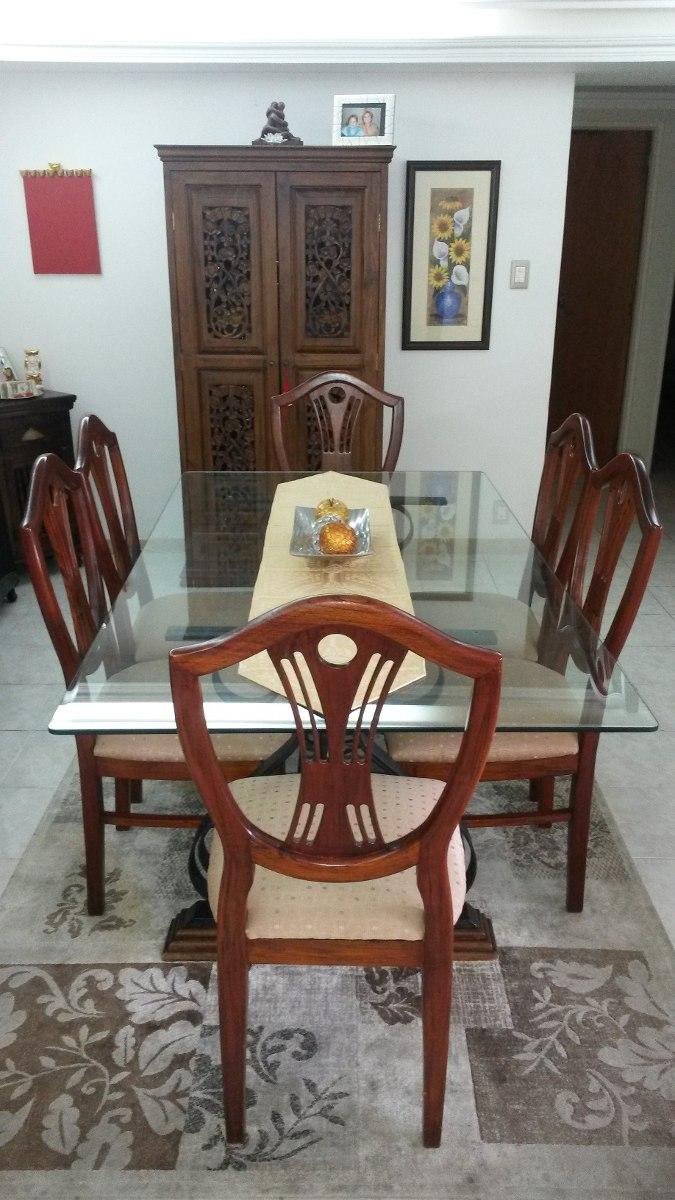 Mesa de comedor con base de hierro forjado para 6 for Mesas de comedor para 6 personas