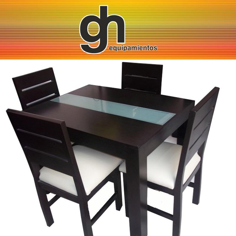 Mesa de comedor con caminero de vidrio 4 sillas en mercado libre for Comedor 4 sillas madera