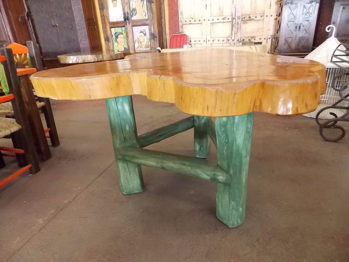 Mesa de comedor con rodaja madera de sabino estilo antiguo for Muebles sabino