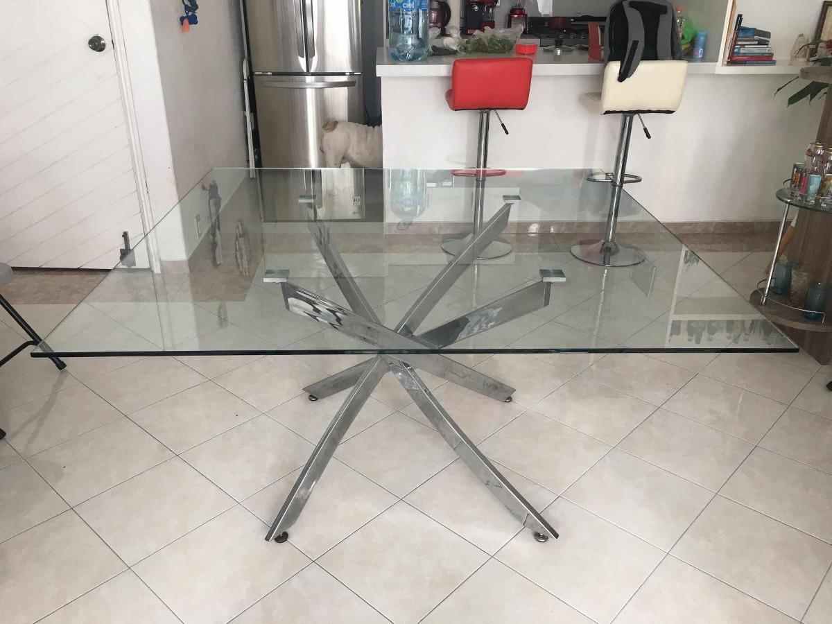 Mesa De Comedor Cristal Templado Y Acero - $ 4,600.00
