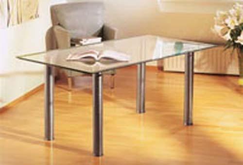 mesa de comedor de acero inoxidable y vidrio templado