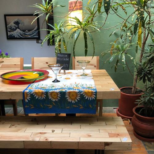 mesa de comedor de palets con base de hierro