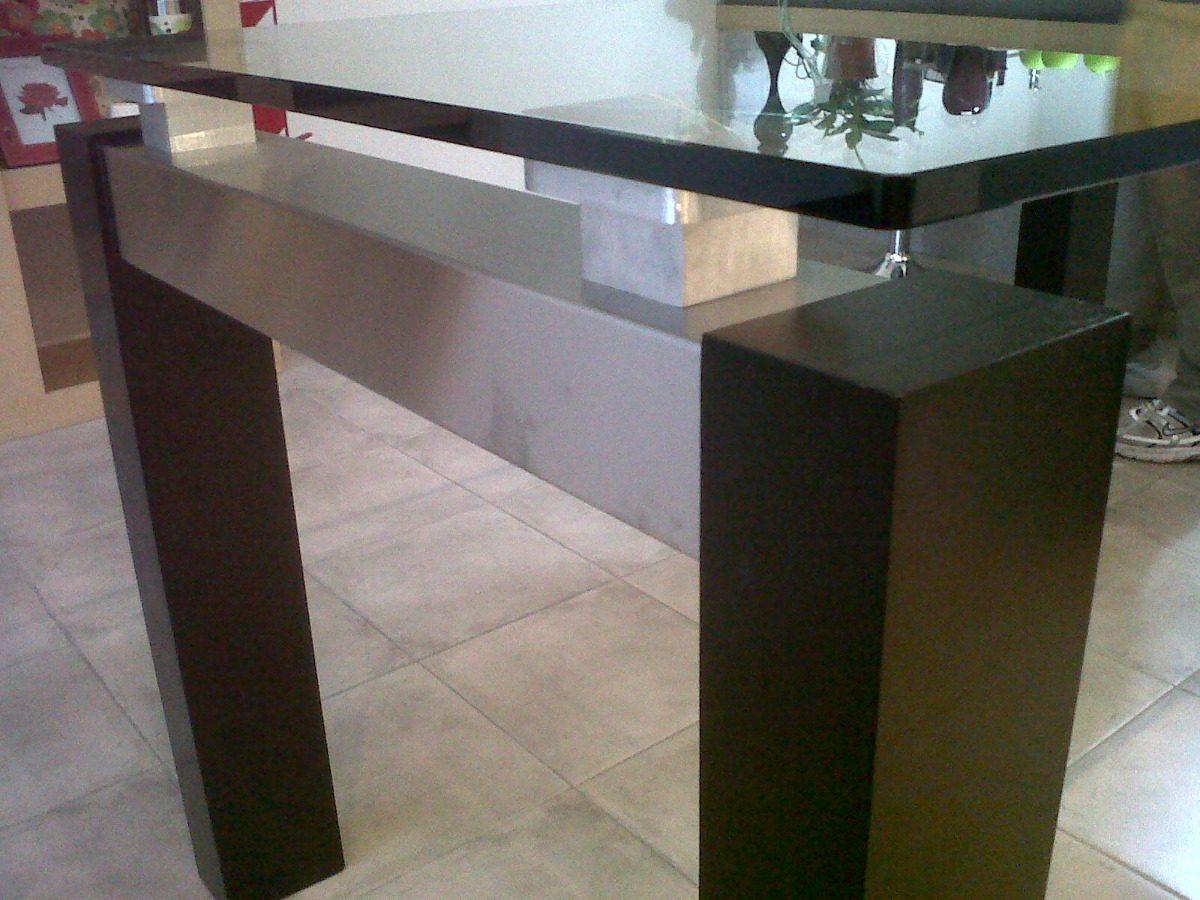 Mesa De Comedor De Vidrio Con Patas De Madera ##oferta## - $ 35.000 ...