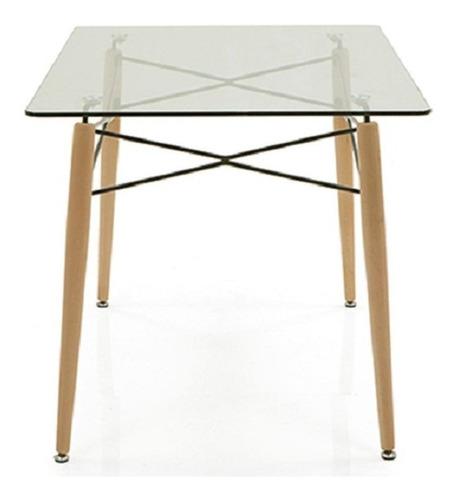 mesa de comedor diseño eames tapa de vidrio 140 x 90