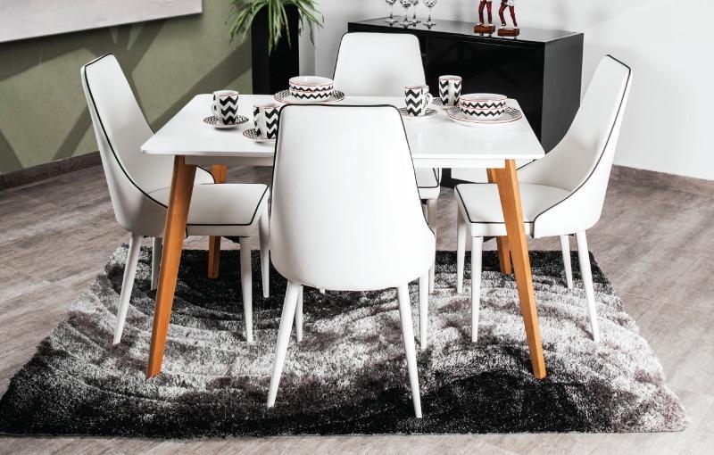 Mesa De Comedor Diseño Moderno Verona 6 Puestos Blanca
