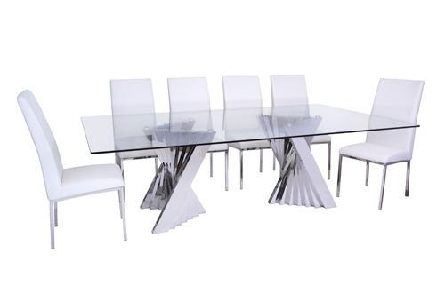 Mesa de comedor en acero inox y cristal brianza 12 msi - Mesa comedor cristal y acero ...