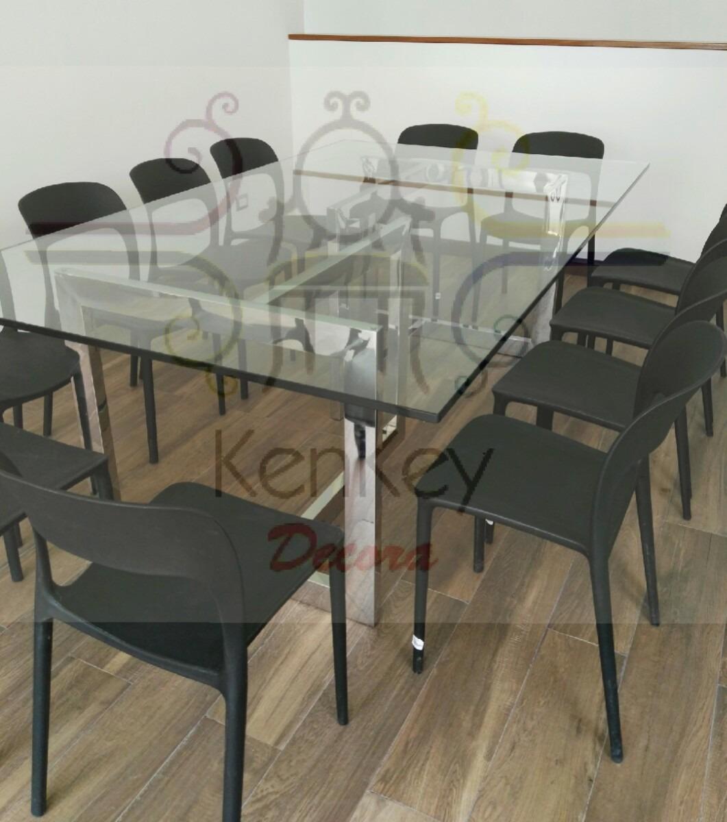Mesa de comedor en acero inoxidable s en - Mesa comedor cristal y acero ...