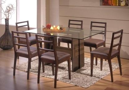 Mesa de comedor en madera y tapa vidrio u s 326 00 en for Mesas de comedor de vidrio
