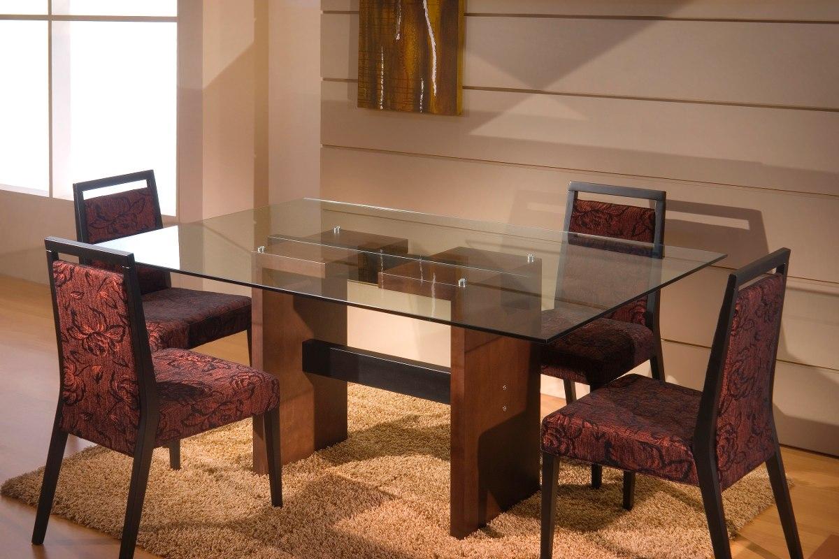 Mesa de comedor en madera y tapa vidrio u s 580 00 en for Mesas de comedor cristal y madera