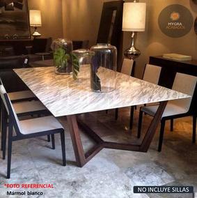 Mesa Comedor base de acero en cristal y mármol | Muebles Aguado