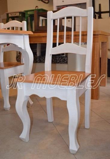 Mesa De Comedor Estilo Provenzal Blanco Viejo 1.40+ 4 Sillas ...