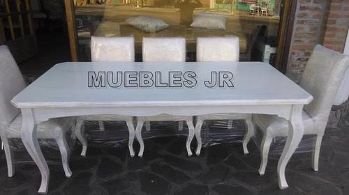 Mesa De Comedor Estilo Provenzal Blanco Viejo + 8 Sillas - $ 27.900 ...