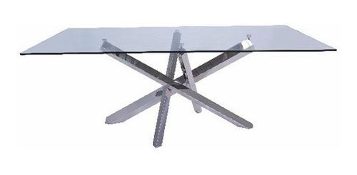 mesa de comedor galaxia acero inoxidable - cristal y acero k